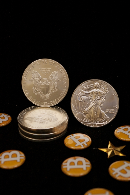 Silver Eagles And Bitcoin Buttons